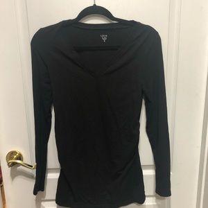 Black long sleeve maternity top